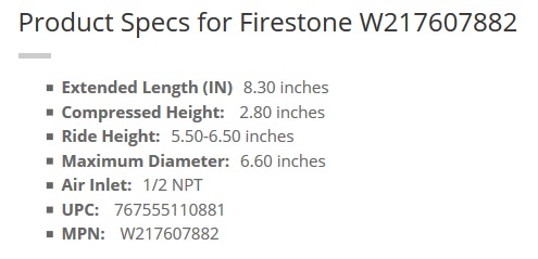 Firestone Air bag spec
