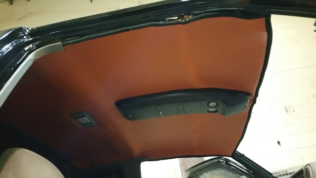 Fitted the re coverd head liner in the Chevy Pickup