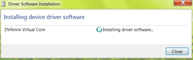 Installing the driver software for the DV4mini