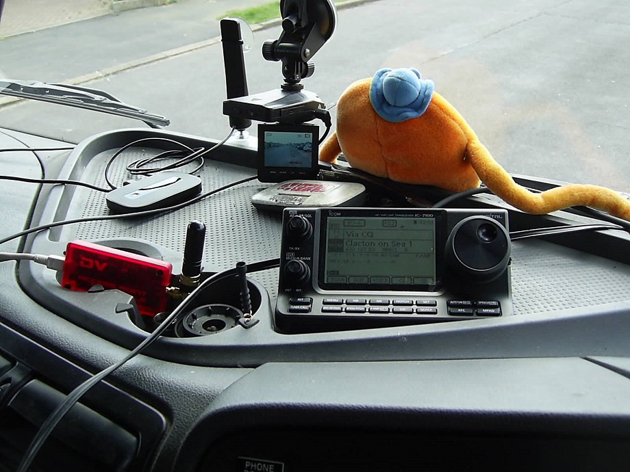 Icom 7100 mobile in truck also DVAP