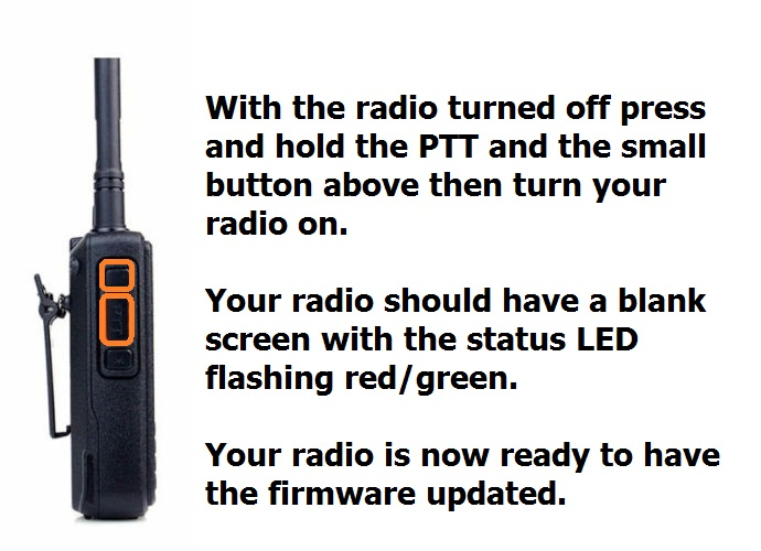 Putting yty radio into firmware update mode